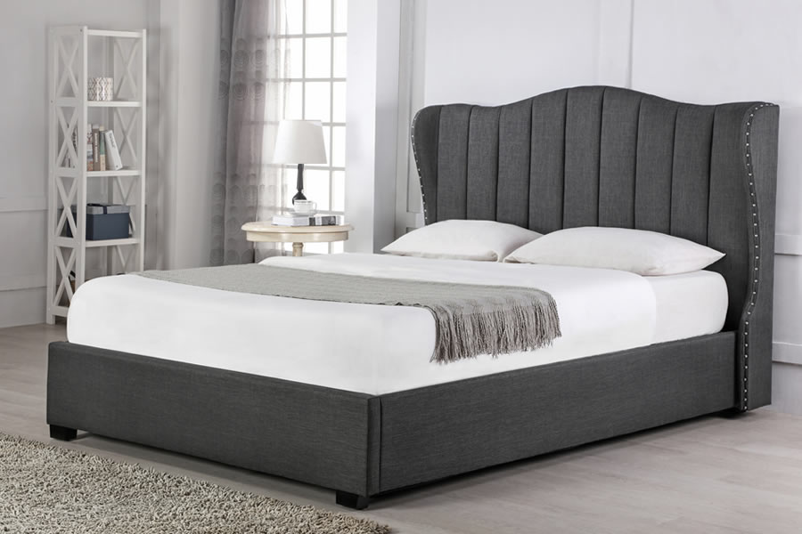 Winged Grey Fabric Super King Size Ottoman Bed Frame
