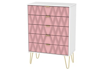 Diamond 5 Drawer Chest - Pink