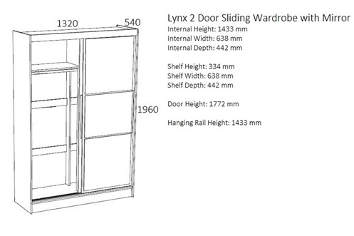 Lynx 2 Door Sliding Robe With Mirror