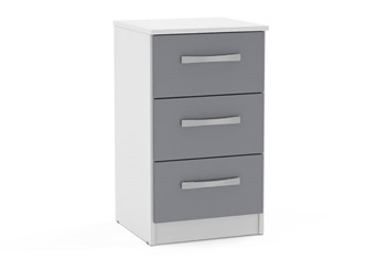 Lynx 3 Drawer Bedside - White & Grey