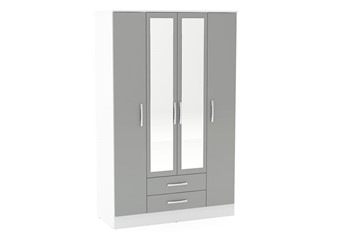 Lynx 4 Door 2 Drawer Robe With Mirror - White & Grey
