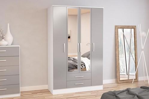 Lynx 4 Door 2 Drawer Robe With Mirror