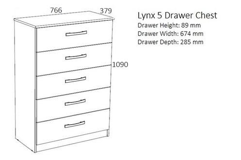 Lynx 5 Drawer Chest