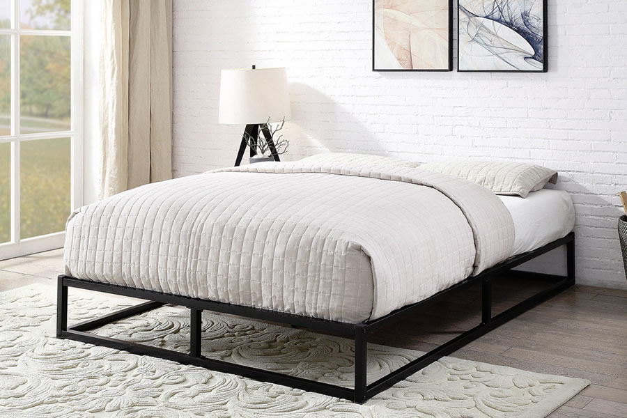 Florida Black Metal Bed Frame Traditional Style Single Double King Size