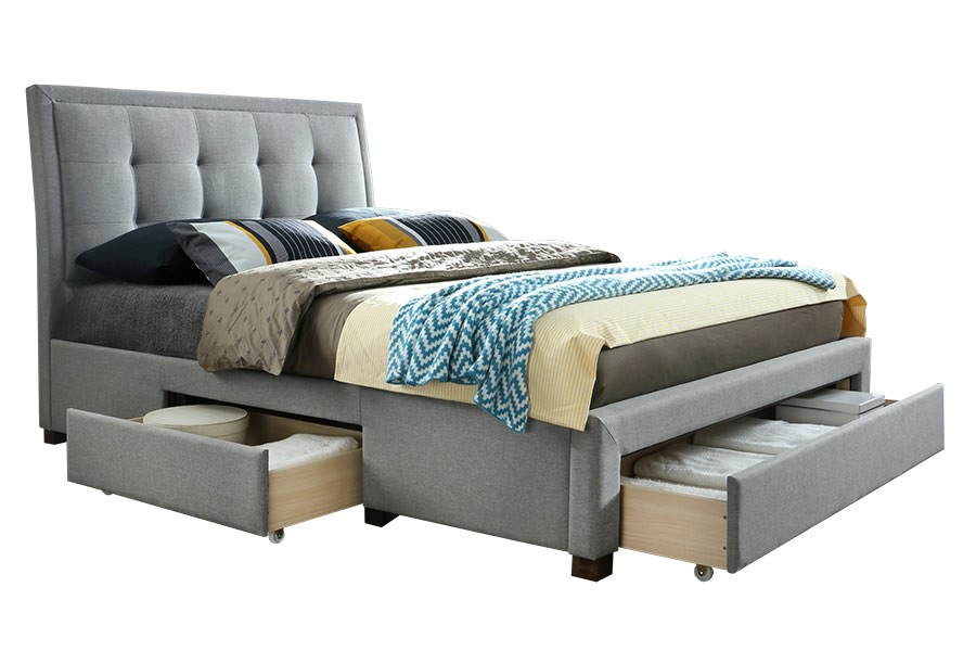King Size Grey Velvet Fabric Bed With 4 Storage Drawers
