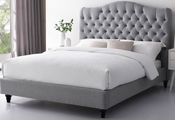 Cole Grey Upholstered Fabric Bed Frame - 4'6'' Double
