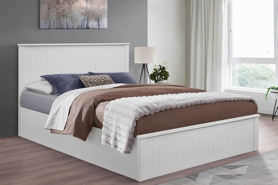 4 6 Quot Double White Wooden Ottoman Storage Bed Frame