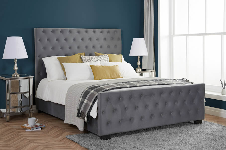 Marquis Grey Fabric Ottoman Bed Frame, Headboard With Matching Storage Bench