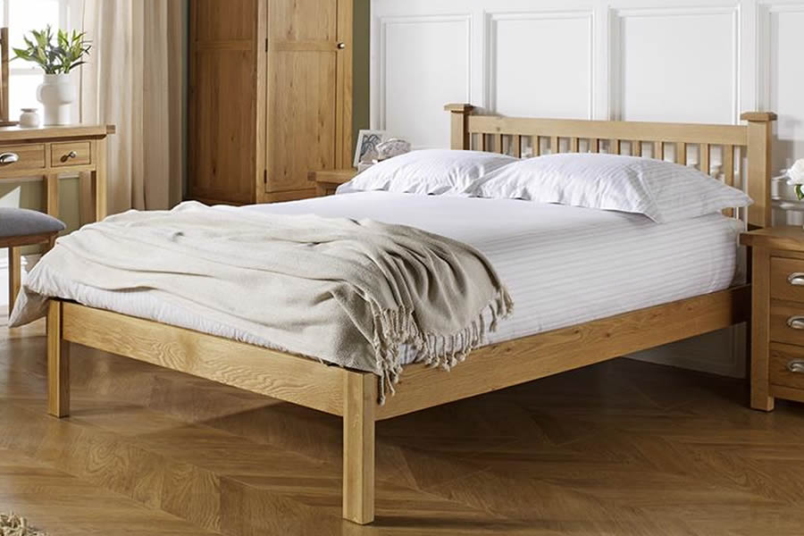 Chunky Solid Oak Wooden Bed Frame Woburn
