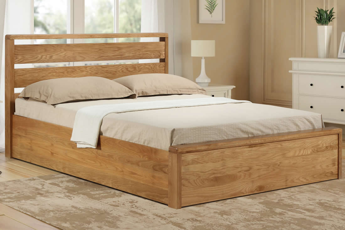 Picture of: Modena Solid Oak Ottoman Storage Bed Frame