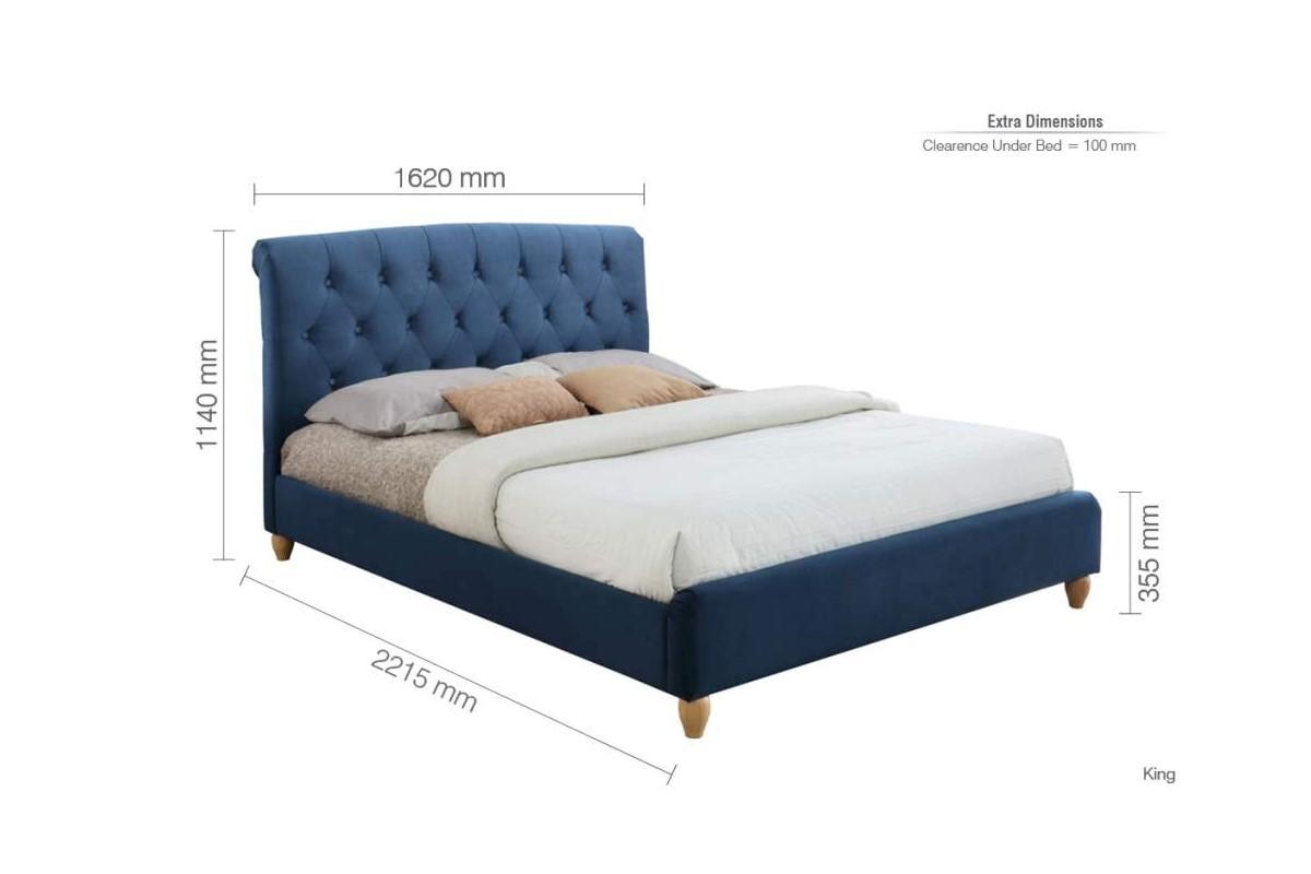 Blue Upholstered Velvet Small Double Bed Frame Buttoned