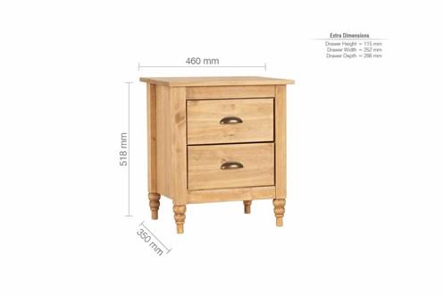 Pembroke 2 Drawer Bedside