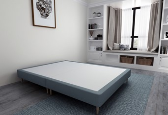 Divan Bed Base On Wooden Legs - 5'0'' King Size Duckegg