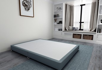 Low Divan Bed Base on Chrome Glides - 5'0'' King Size Duckegg