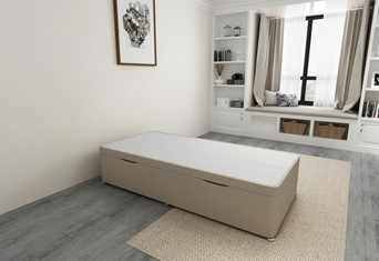 Ottoman Storage Side Lift Divan Bed Base - 2'6'' Small Single Stone