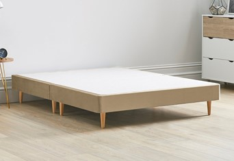 Divan Bed Base On Wooden Legs - 4'6'' Standard Double Latte