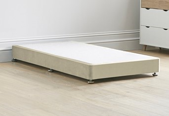 Low Divan Bed Base on Chrome Glides - 3'0'' Standard Single Oatmeal