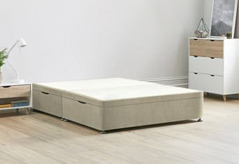 Ottoman Storage Side Lift Divan Bed Base - 4'6'' Standard Double Oatmeal