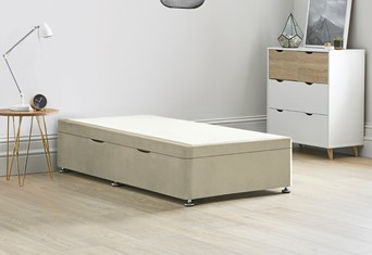 Ottoman Storage Side Lift Divan Bed Base - 3'0'' Standard Single Oatmeal
