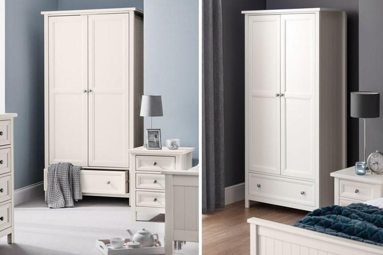 Maine White 2 Door Combination Wardrobe